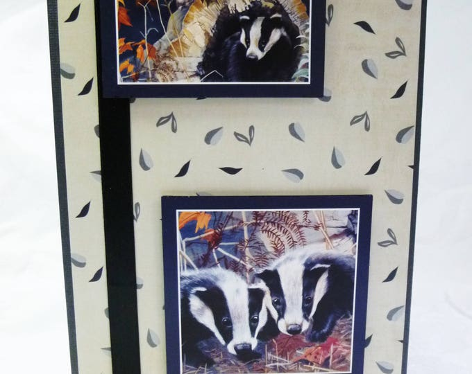 Three Badgers, Nature Card, Wildlife Card, Animal Card, Countryside Card, Birthday Card, Greeting Card, Male, Any Age,