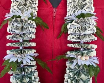 Money lei with 50 dollar bills for graduation weddings  or birthdays made with 50 one dollar bills (Y)