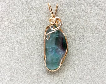 Large Green & Purple Fluorite 14KT Gold Filled Wire Wrapped Pendant, Green Fluorite Jewelry, Green Fluorite Gemstone Pendant
