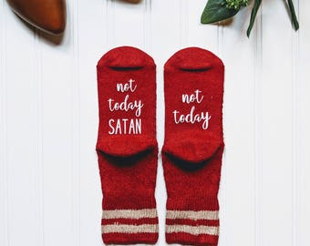 not today satan shirt, not today satan mug, if you can socks, not today, read this socks, birthday gift for her.