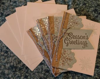 Christmas cards - hand stamped, set of 4 with envelopes