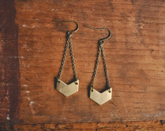 boho chevron drop earrings