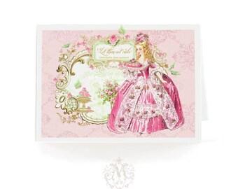 Marie Antoinette, let them eat cake card, for birthday, high tea, shower tea, blank inside