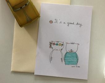 "Postcard for girl ""Choumi et Michou, good day"""