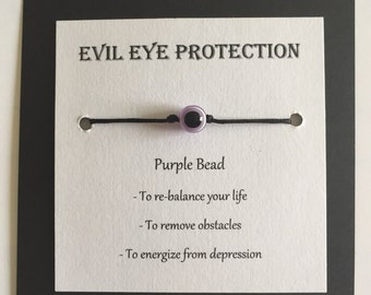 Purple Evil eye protection bracelet, various colors, various forms of protection