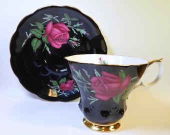 Vintage Royal Albert TEA CUP & Saucer BLACK with Pink Roses English Bone China