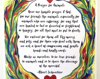 PRAYER for ANIMALS 11x14 Rescue Poster Albert SCHWEITZER Catholic Inspirational Motivational Meditation Heartful Art by Raphaella Vaisseau