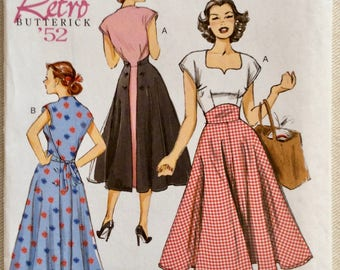 Butterick Pattern 6212-Retro '52- Button or Tie Back Wrap Pullover Swing Dress with Sweetheart Neckline - Sizes 6-14  UNCUT
