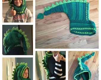 Adult size crocheted Dragon/dinosaur hooded cowl-choose your own colors!