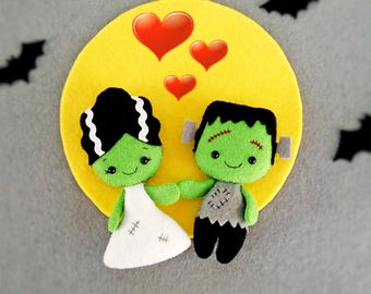 Halloween Decor Bride of Frankenstein Creepy Cute Doll Halloween Ornaments Toy Felt Halloween Gift Baby Shower Favors Halloween Decorations