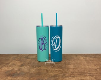 Monogram Cup / Monogrammed Cup / Monogram Cup / Initial Cup / Straw Metal Cup / Friend Gift / Teacher Gift / Tumbler