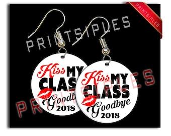 White Graduation Earrings Gift Jewelry Humor 2018 Kiss My Class Goodbye