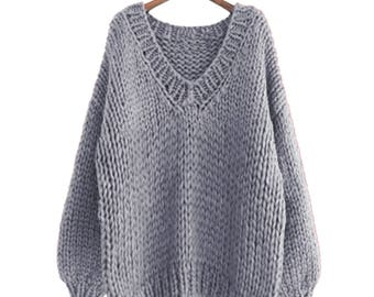 Hand knit oversize woman sweater V-neck slouchy wool grey sweater