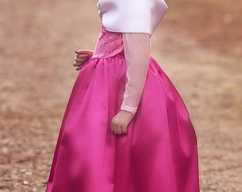 Princess Dress,  Sleeping Beauty Princess Costume, Princess Birthday Dress, Kids Satin Costume - Long Dress