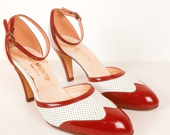 Miramonte Red and White Spectator Ankle Strap Pumps Size 7
