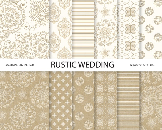 Rustic Digital Paper Kraft Digital Paper Wedding Digital