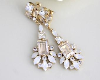 Opal Bridal earrings, Swarovski earrings, Bridal jewelry, Chandelier earrings, Crystal earrings, Statement earrings, White opal earrings
