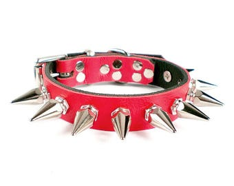 "3/4"" Soft Fire Red, Thick Leather Spiked Dog Collar with 1"" Tall Hexagonal Spikes"