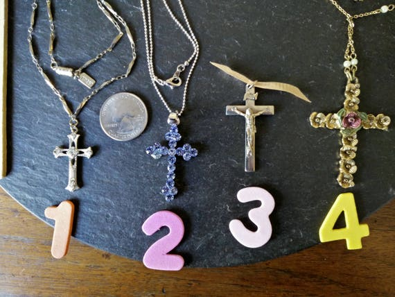 Choose 1 Crucifix Or 1928 Signed Brand Cross Necklace Vtg Religious Blue Rhinestone Silver Or Gold Pendant Charm July 4th Birthday Gift by Etsy