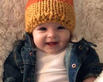 Fall Knit Hat,Baby Hat,Kids Hat,Womens Hat,Candy Corn Hat,Hand Knit Hat,Chunky Knit Pom Hat,Fall Fashion,Mommy and Me