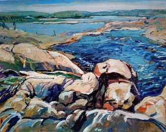 Arthur Lismer - Brink of the Falls, Moon River PDF Cross Stitch Pattern