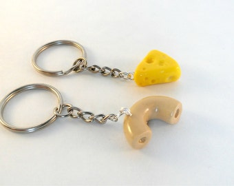 Gift for best friends keychain macaroni and cheese husband gift for boyfriend mac and cheese set of 2 best friends forever keychain