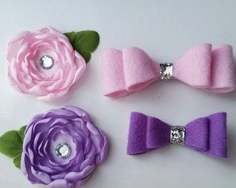 flower and bow hairclip set