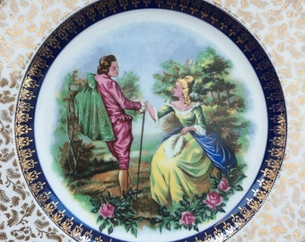 Romantic Scene ASCOT Service Plate by Wood & Sons Vintage Collector's Plate: Ironstone Alpine White, Gold Gilt  Cabinet Plate