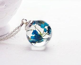 Real flower necklace Dried flower jewelry Terrarium necklace Nature pendant Blue flower necklace Dried flower necklace Gift for her