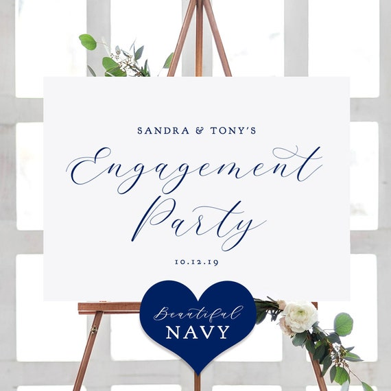 """Navy Blue Welcome Engagement Party Sign, Printable Engagement Sign, """"Beautiful"""" Printable Sign 4 sizes included, Edit in ACROBAT"""