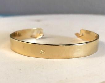 Heart hand stamped gold cuff bracelet. Spiritual meaningful jewelry. Symbolism.