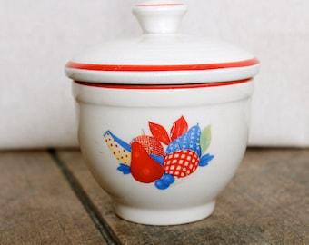 Vintage Kitchen Sugar Bowl with Lid Fruit Motif Universal Pottery Kitchen Jar Fruit Dishes