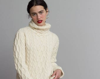 Cream Wool Cable Knit Turtleneck