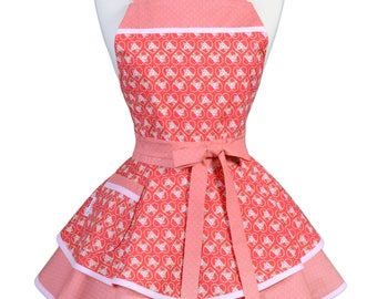 Ruffled Retro Apron - Hearts of Love Red Pink Kitchen Apron - Womens Sexy Cute Pinup Apron with Pocket - Monogram Option