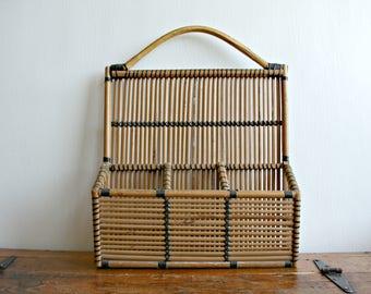 Wall Hanging Bamboo Basket, Rattan Organizing Basket, Wicker Wall Basket
