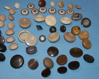 """55  Shades of Browns Shank Buttons 1/2""""to 1 1/16 , Lot 824"""