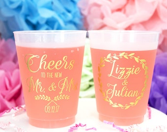 Personalized Plastic Cup, Wedding Party Cups, Frosted Cups, Frost Flex Cups, Printed Cups, Custom Wedding Cups, Monogram Cups, Plastic Cups