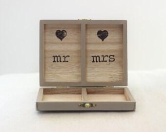 Ring Bearer Box Wedding Ring Engagement Ring Box Wood Box Personalized Rustic Box for Wedding Mr Mrs