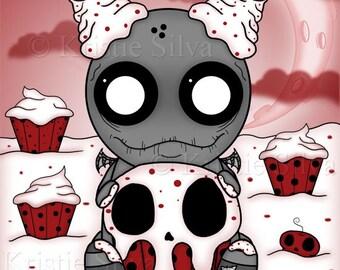 Sweet Tooth: Cupcakes 8x10 digital art print by Kristie Silva skull cupcake eating unluckable