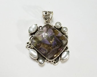 Charoite, Bronzite, Mosaic, Freshwater Pearl, Pendant, .925 Sterling Silver, Necklace, Focal, Faceted, Beading, Jewelry, Supplies, Supply