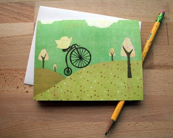 CARD: Sweet Wheels, Any Occasion, Blank, Bird on Penny Farthing, Whimsical