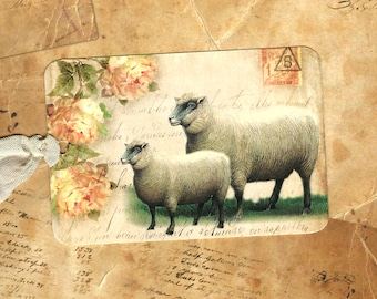 Tags, Le Mouton, Sheep, Lamb, Farmhouse Style, Gift Tags, Party Favors, Labels
