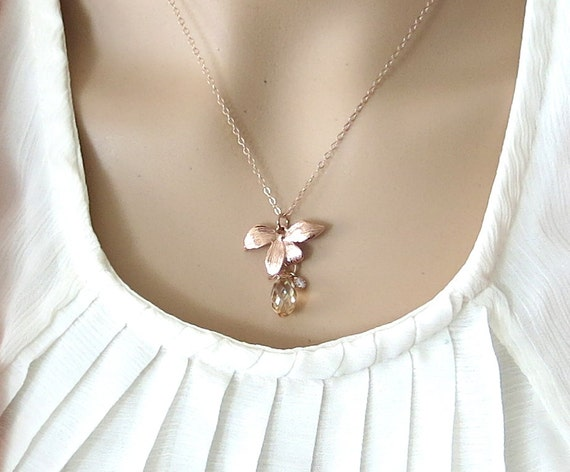 Rose Gold Flower Necklace -  gold shadow crystal, delicate rose gold filled chain, garden, Wedding, bridesmaid, best friends -N0040RG