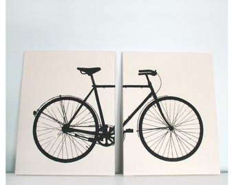 "Bike Print 16 x 24"" Two Panel Bicycle Screenprint Set"