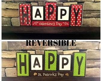 REVERSIBLE Valentine's & St Patrick's day  blocks-Happy Valentine's day reverses with Happy St. Patrick's Day(polka dot