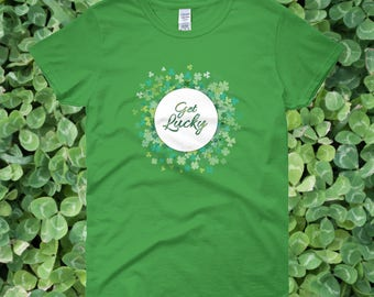 Get Lucky Green St. Patrick's Day T-shirt | Lucky with Shamrocks Shirt in Kelly Green American Apparel St. Patrick's Day Holiday