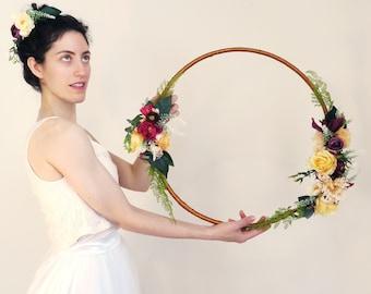 A flower hoop, photo prop, nursery decoration, guestbook table decor, alternative bouquet, Boho flower hoop, hoop decor, nursey wall hang
