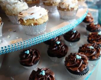 Turquoise Diamond Bling Mesh Ribbon - SUPPLY Faux Rhinestone DIY Rhinestone Cupcake Tower Decor Aqua, Teal, Ocean Silver Wedding Princess