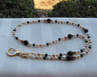 ID Badge Lanyard Swarovski Gold Pearl Mix Beaded Lanyard Necklace ID Badge Holder