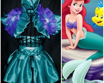 Ariel Little mermaid Cosplay dance costume skirt and shoulder collar shrug wrap accessory